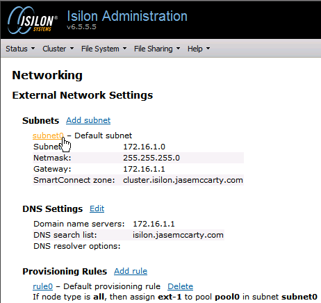 configuring emc isilon smartconnect part i smartconnect basic clicking on the subnet0 hyperlink will allow us to configure subnet0 and the smartconnect behaviour